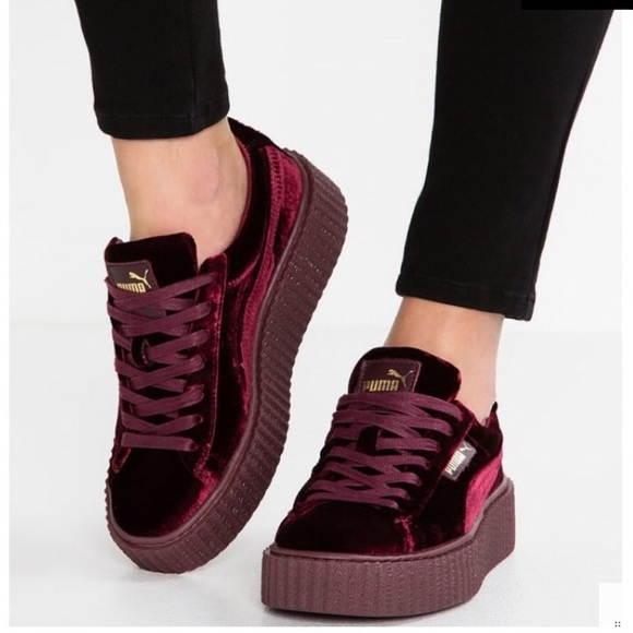 innovative design 0294f ce3fb Rihanna Fenty Puma Velvet Creepers Burgundy NWT